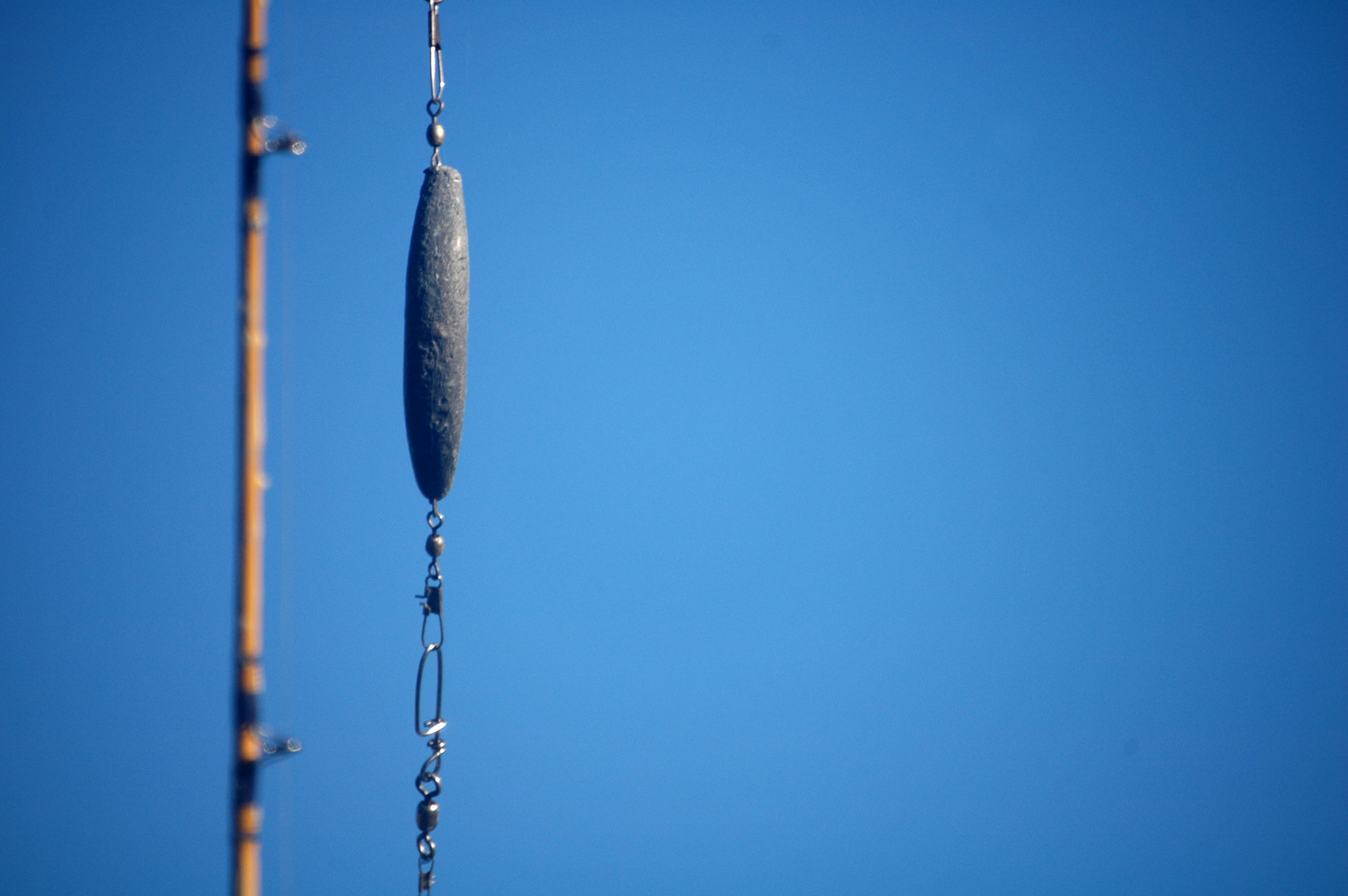 Close Up Fishing Rod on blue sky