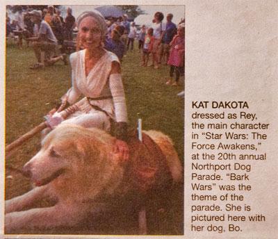 Kat and Bo Made the Leelanau Enterprise Newspaper Northport Dog Parade
