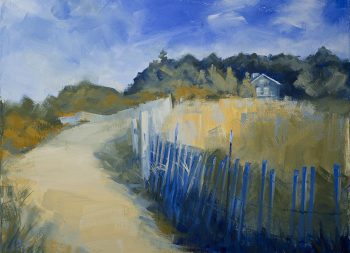 Leland Beach Cottage Around the Bend Kat Dakota Oil Painting
