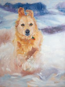 Pyrenees Pet Portrait by Kat Dakota Running in Snow